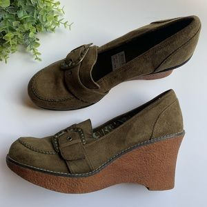 Lower East Side | Olive Suede Feel Shoes Size 10
